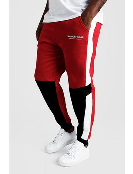 Big And Tall Man Official Colour Block Joggers by Boohoo