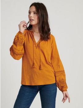 Long Sleeve Embroidered Peasant Top by Lucky Brand