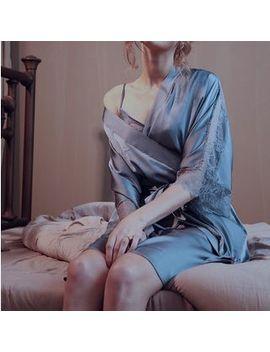 Chrissie   Lace Trim Robe by Chrissie