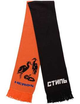Heron Intarsia Knit Scarf by Heron Preston