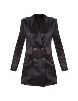 black-longline-satin-blazer by prettylittlething