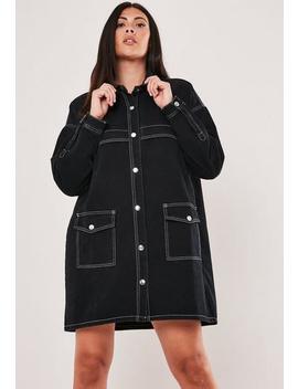 Plus Size Black Contrast Stitch Denim Mini Dress by Missguided