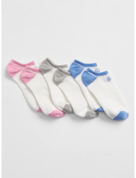 Kids Gap Logo No Show Socks (3 Pack) by Gap