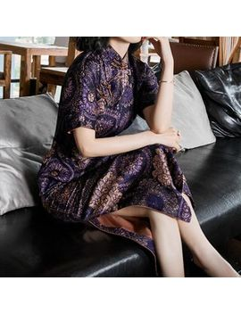 Ozipan   Short Sleeve Patterned Midi Qipao by Ozipan