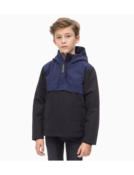 Hooded Colour Blocked Anorak by Calvin Klein