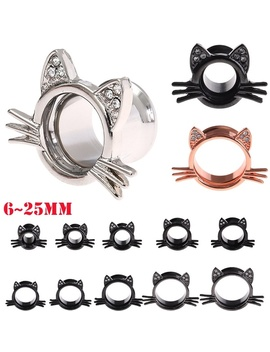 1 Pair 6 25mm Stainless Steel Diamond Cat Style Ear Tunnels Plugs Expander Ear Piercing Flesh Tunnel by Wish