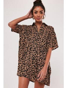 Brown Leopard Print Smock Dress by Missguided