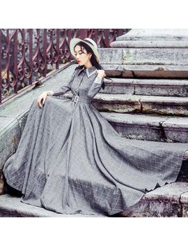 nebbia---long-sleeve-check-maxi-dress by nebbia
