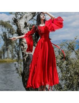 Nebbia   Long Sleeve Crinkled Chiffon A Line Maxi Dress by Nebbia
