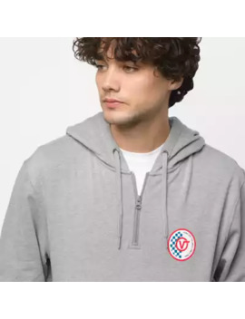 Checker Circle V Quarter Zip Pullover Hoodie by Vans