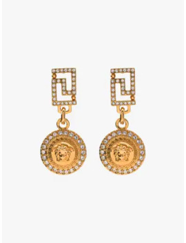 Gold Tone Crystal Medusa Earrings by Versace