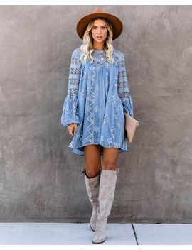 Laurel Crochet Eyelet Dress   Slate Blue by Vici