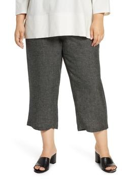 Organic Linen Blend Straight Leg Crop Pants by Eileen Fisher