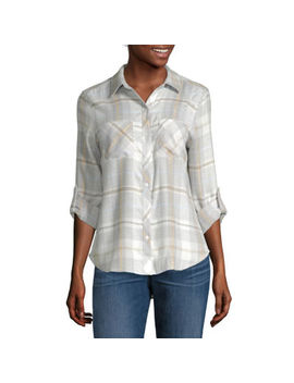 A.N.A Womens Long Sleeve Relaxed Fit Button Front Shirt by A.N.A