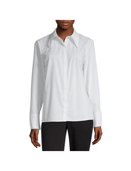 Worthington Womens Long Sleeve Button Front Shirt by Worthington