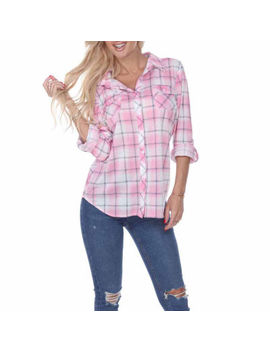 White Mark Oakley Plaid Womens Long Sleeve Button Front Shirt by White Mark