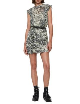 Hali Patch Leopard Print Open Back Minidress by Allsaints