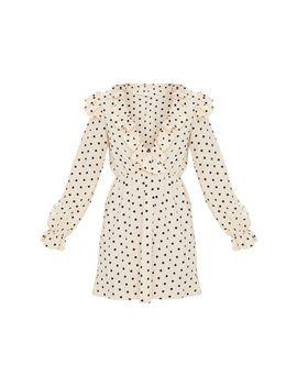 cream-polka-dot-print-frill-detail-v-neck-shift-dress- by prettylittlething