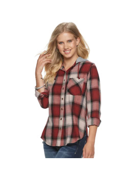 Juniors' Mudd® Hooded Flannel by Juniors' Mudd