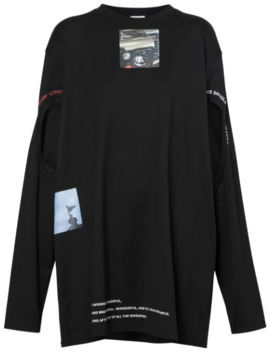 Cut Out Detail Montage Print Oversized Top by Burberry