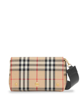 Vintage Check And Leather Note Crossbody Bag by Burberry