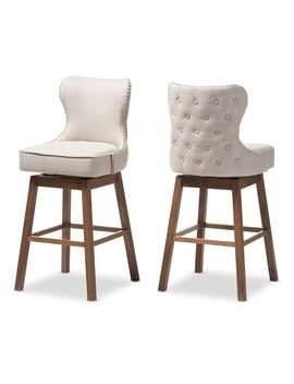 Baxton Studio Gradisca Modern And Contemporary Brown Wood Finishing And Light Beige Fabric Button Tufted Upholstered Swivel Barstools, Set Of 2 by Baxton Studio