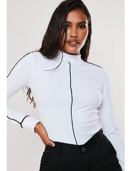 white-rib-contrast-piping-high-neck-top by missguided