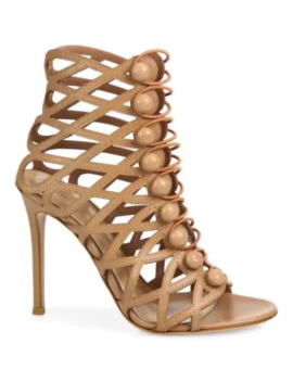 Cutout Leather Button Strap Sandals by Gianvito Rossi