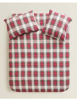 Checked Flannel Duvet Cover  Holidays   Bedroom by Zara Home