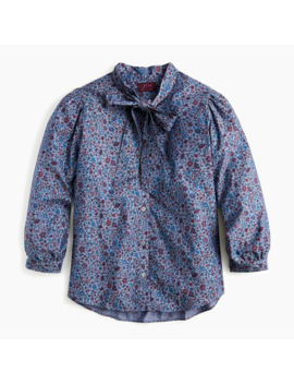 Tie Neck Blouse In Liberty® Colombo Chambray by Tie Neck Blouse In Liberty