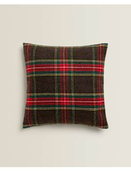 Tartan Throw Pillow  Holidays   Bedroom by Zara Home