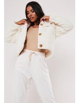 White Crop Teddy Trucker Jacket by Missguided