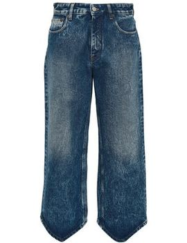 Cropped Bleached High Rise Wide Leg Jeans by Mm6 Maison Margiela
