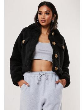 Petite Black Teddy Borg Crop Jacket by Missguided