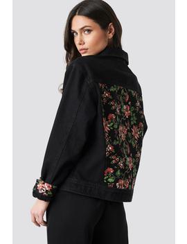 dark-floral-denim-jacket-svart by na-kd