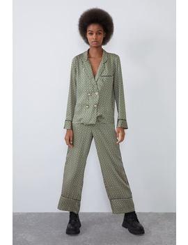 Skjorte I Pyjamasstil Med Juvelknapp by Zara