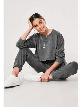 grey-washed-crop-sweatshirt-and-joggers-co-ord-set by missguided
