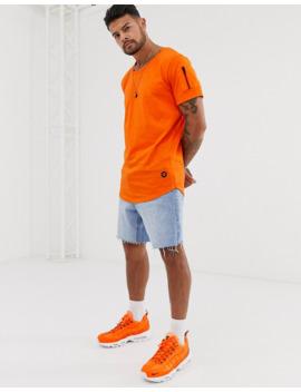 Jack &Amp; Jones Core Curved Hem Scoop Neck T Shirt In Orange by Jack & Jones