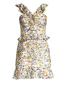 Elyse Ruffled Silk Mini Dress by Amur