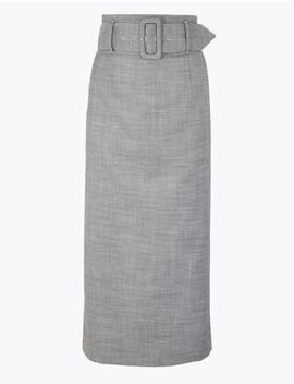 Belted Pencil Midi Skirt by Marks & Spencer