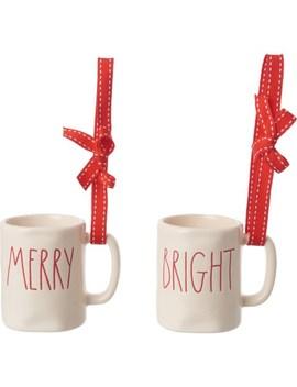 Rae Dunn Holiday Mug Ornament Set   Merry Bright by Rae Dunn