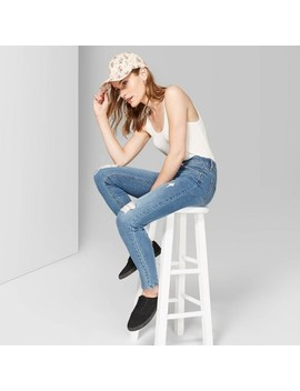 Women's High Rise Distressed Skinny Jeans   Wild Fable™ Medium Wash by Wild Fable