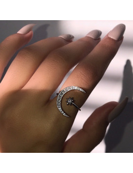 Cute Moon And Star Adjustable 925 Sterling Silver Rings With Zircon Bling Stone For Women Fashion Wedding Engagement Jewelry 1 by Ali Express.Com
