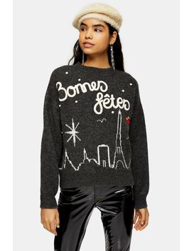 Christmas  Knitted Bonnes Fetes Jumper by Topshop