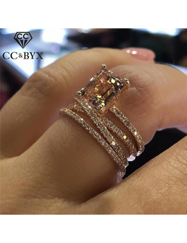 Cc Wedding Rings For Women Luxury Jewelry Bridal Engagement Cubic Zirconia Ring Rose Gold Color Accessories Drop Shipping Cc2280 by Ali Express.Com
