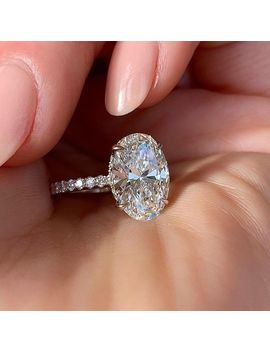 Huitan Oval Finger Ring Band Dazzling Brilliant Cz Stone Four Prong Setting Classic Wedding Anniversary Gift For Wife&Girlfriend by Ali Express.Com