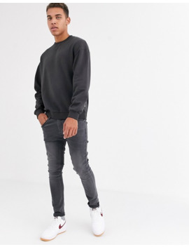 Jack & Jones Originals – Czarna Bluza O Kroju Oversize Z Okrągłym Dekoltem by Jack & Jones