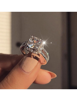 17 If Luxury Zircon Engagement Ring Female Square Geometry Aaa Zircon Austria Crystal Romantic Wedding Rings For Women Party Gift by Ali Express.Com