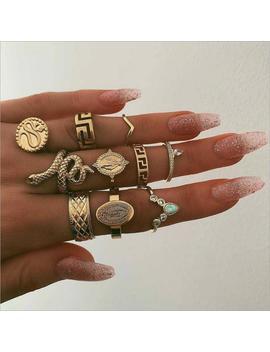 10 Piece Women's Wedding Ring Snake Ring Punk Buddha Statue Natural Stone Bohemian Ring by Ali Express.Com