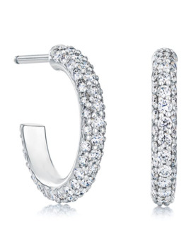 White Gold And Diamond Three Row Micropavé Earrings by De Beers